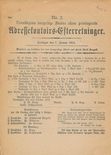 (ADRESSEAVISEN) Trondhjems borgerlige Skoles allene privilegerede Adressekontoirs-Efterretninger for 1814.