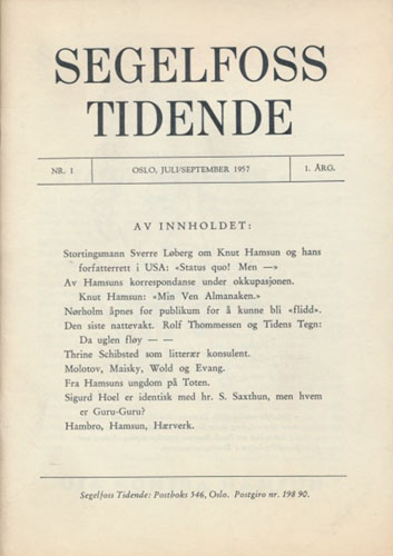 (HAMSUN, KNUT) Segelfoss Tidende.
