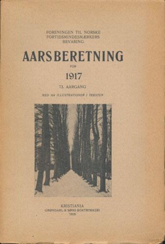 FORENINGEN TIL NORSKE FORTIDSMINDESMERKERS BEVARING.  Aarsberetning for