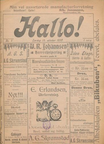 HALLO!  Stor ukomplett samling av ialt 215 nr. f.o.m 1.aarg 1899 t.o.m. 17.aarg. 1915.