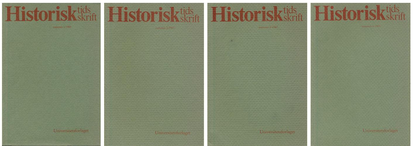 HISTORISK TIDSSKRIFT.  Utgitt av Den Norske Historiske Forening.