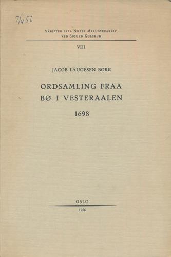 Ordsamling fraa Bø i Vesteraalen 1698.
