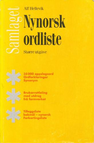 Nynorsk ordliste. Større utgåve med ordforklaringar, synonym og fotnotar, tilleggsliste bokmål-nynorsk og liste over forkortningar.
