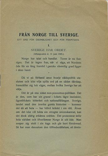 FRÅN NORGE TILL SVERIGE.  Ett ord för ögonblicket och för framtiden.
