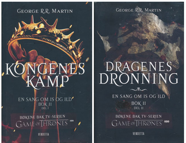 En sang om is og ild bok 2. Del 1 - Kongens kamp. Del 2 - Dragenes dronning.