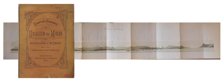 Farvetrykt Panorama af Udsigten fra Molde efter Originaltegning af Dr. S. Høegh. Med text.