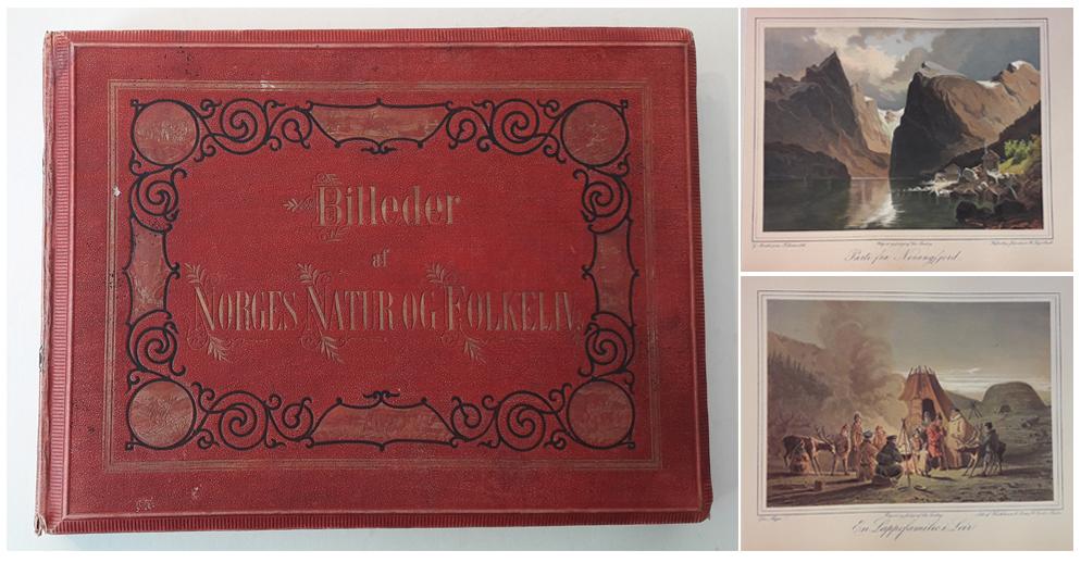 BILLEDER AF NORGES NATUR OG FOLKELIV,  ledsaget med oplysende Text af forskjellige forfattere. Udgivne af Chr. Tønsberg.