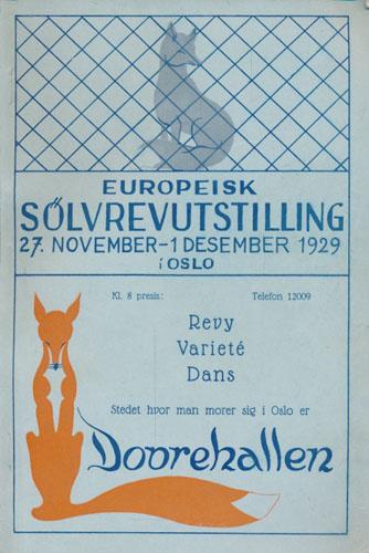 KATALOG OVER DYR INNMELDE TIL NORGES SØLVREVAVLSLAGS UTSTILLING I OSLO.  27. november til 1. desember 1929.