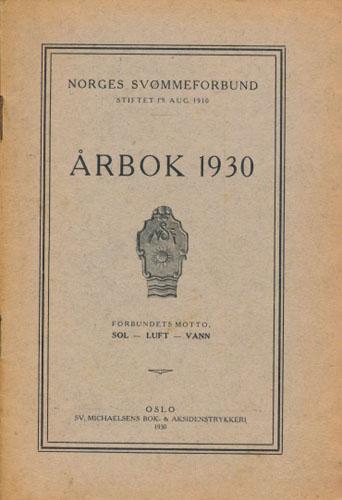 (NORGES SVØMMEFORBUND) Årbok 1930.