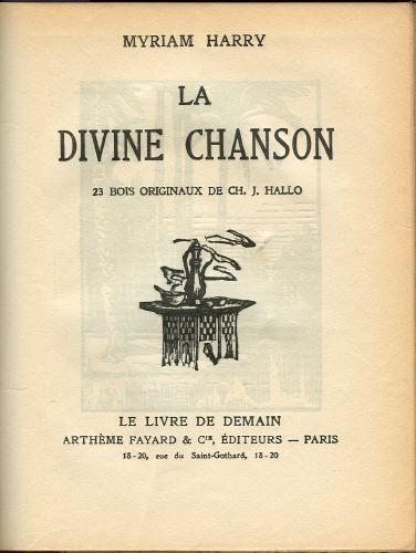La divine chanson.  23 bois originaux de Ch. J. Hallo.