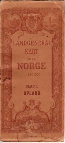 (OPPLAND) Landgeneralkart over Norge. 1:250 000.