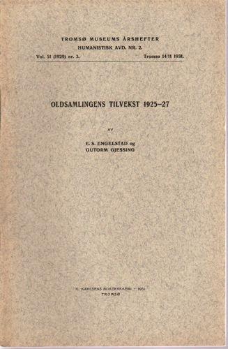 Oldsaksamlingens tilvekst 1925-27.