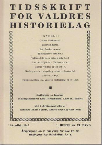 TIDSSKRIFT FOR VALDRES HISTORIELAG.