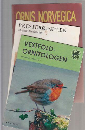ORNITOLOGI.  12 div. hefter. Vestfold-ornitologien, Ornis Norvegica m. fl.