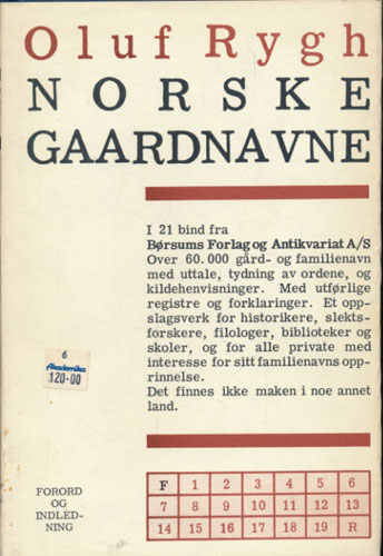 Norske Gaardnavne. Oplysninger samlede til brug ved Matrikelens revision. Forord og Indledning.