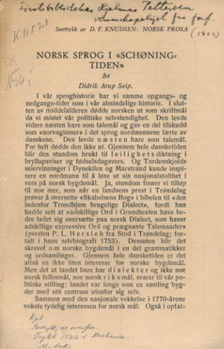 """Norsk sprog i """"Schøningtiden""""."""