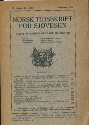 NORSK TIDSSKRIFT FOR SJØVESEN.  Utgitt av Sjømilitære Samfund.