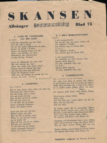 SKANSEN  Allsånger Blad 75. Sångbladet redigerat av Sven Lilja.