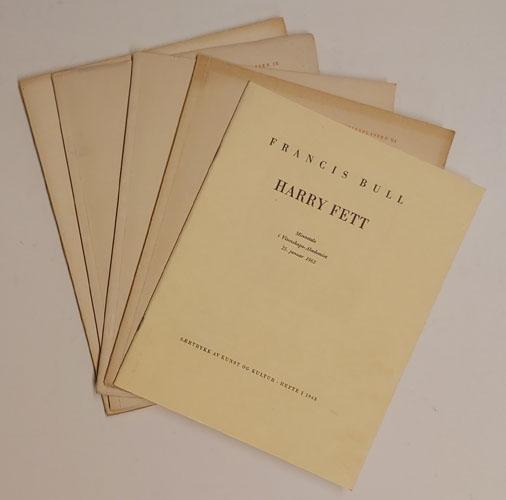 (FETT, HARRY) Lot med 5 særtrykk av og om Harry Fett.